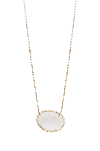 Kimberly McDonald - Yellow Gold White Geode Diamond Pendant Necklace