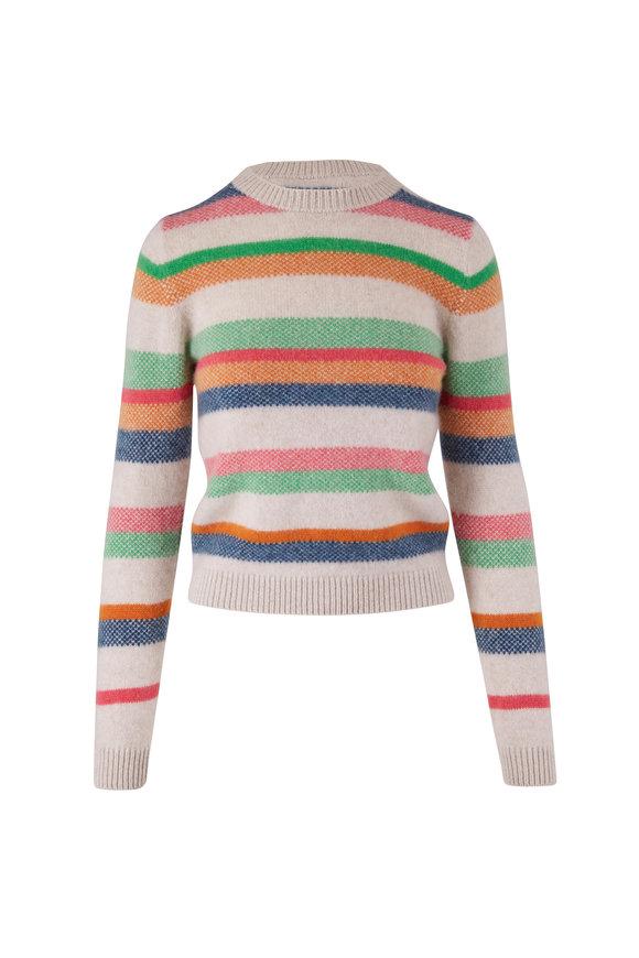The Elder Statesman Multicolor Stripe Heavy Cashmere Sweater