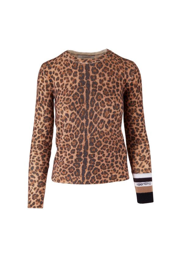 Valentino Leopard Print Cashmere & Wool Sweater