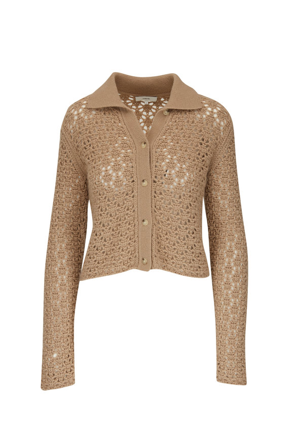 Vince Amber Light Crochet Button Cardigan