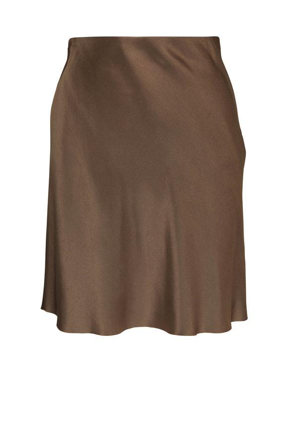 Vince Brown Satin Mini Slip Skirt