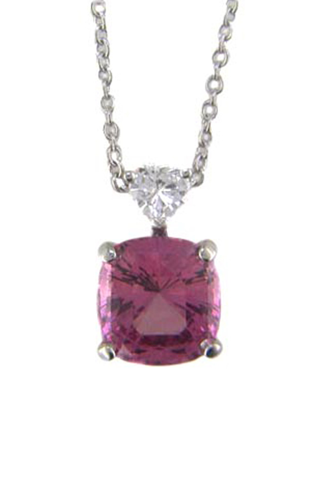 Platinum Pink Spinel Diamond Pendant