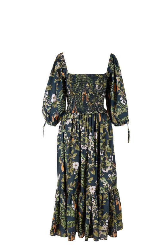 Cara Cara Jazzy Green Botanical Birds Dress