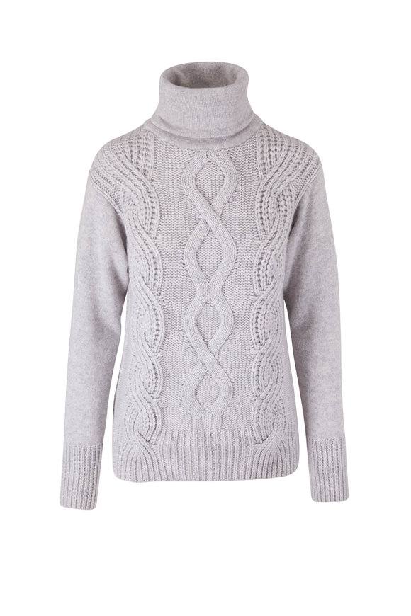 Lafayette 148 New York Heather Gray Cable Knit Sweater