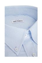 Atelier Munro - White & Light Blue Check Poplin Sport Shirt