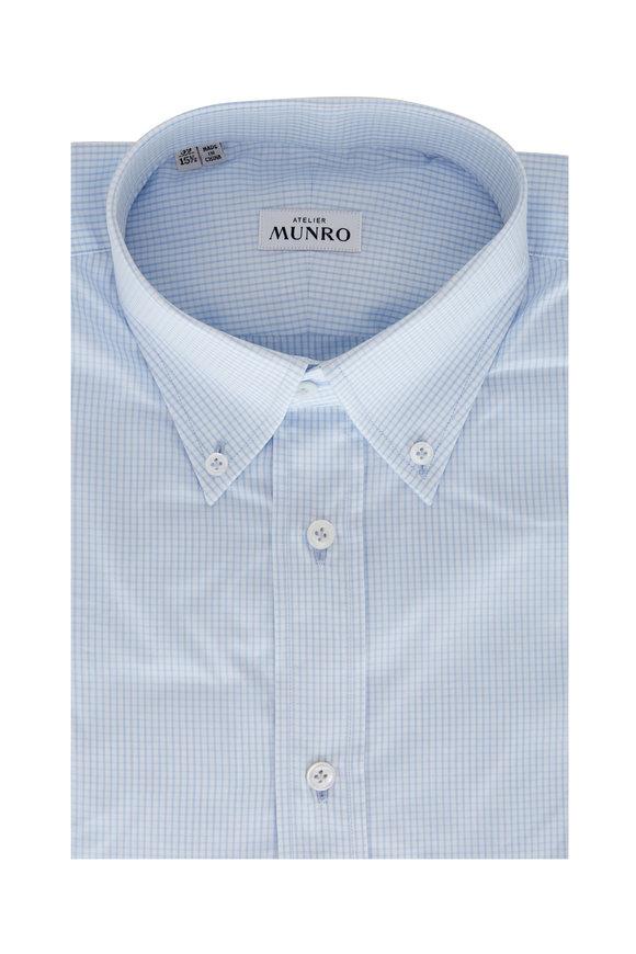 Atelier Munro White & Light Blue Check Poplin Sport Shirt