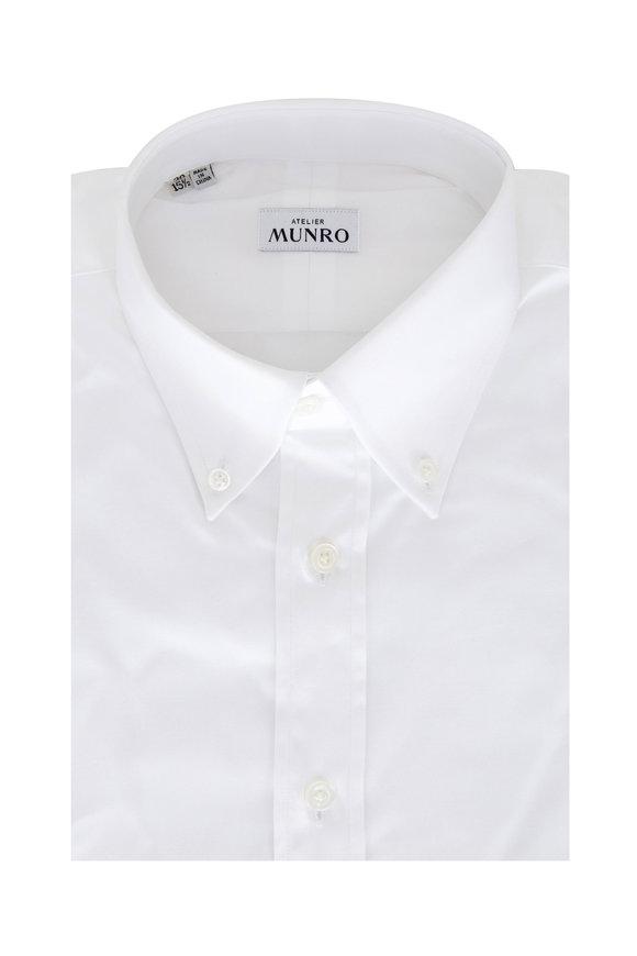 Atelier Munro White Cotton Pinpoint Sport Shirt