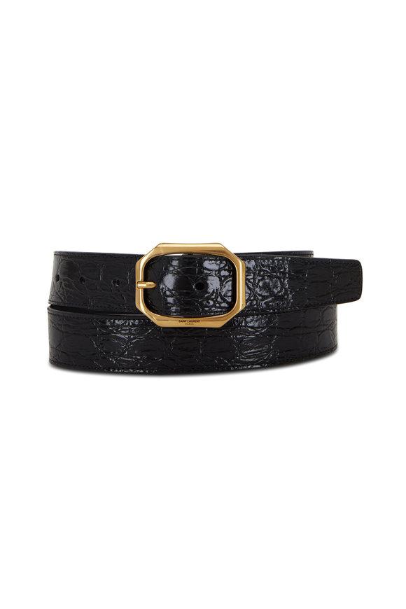 Saint Laurent Black Croc Embossed Leather Belt