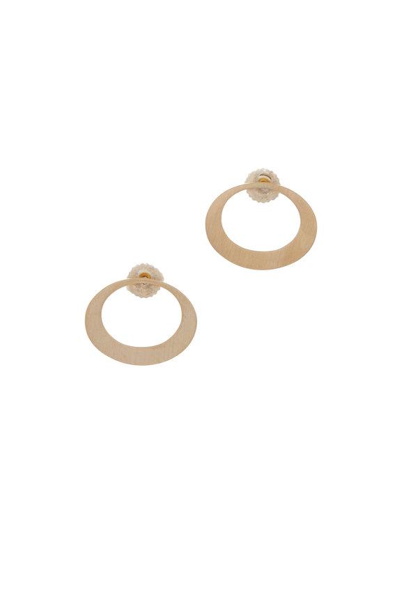 Caroline Ellen Yellow Gold Horizontal Oval Dangle Earrings