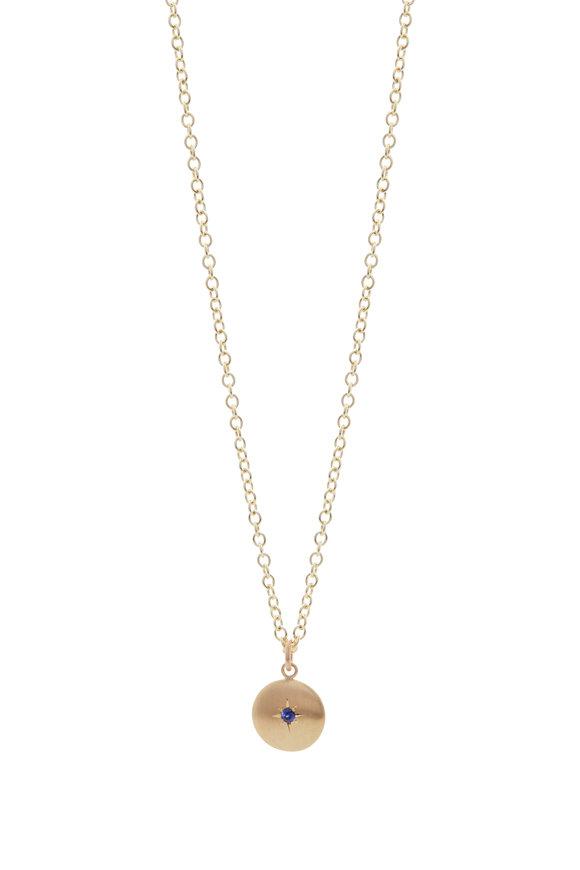 Caroline Ellen Sapphire Large Lentil Pendant On Chain