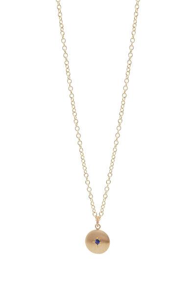 Caroline Ellen - Sapphire Large Lentil Pendant On Chain