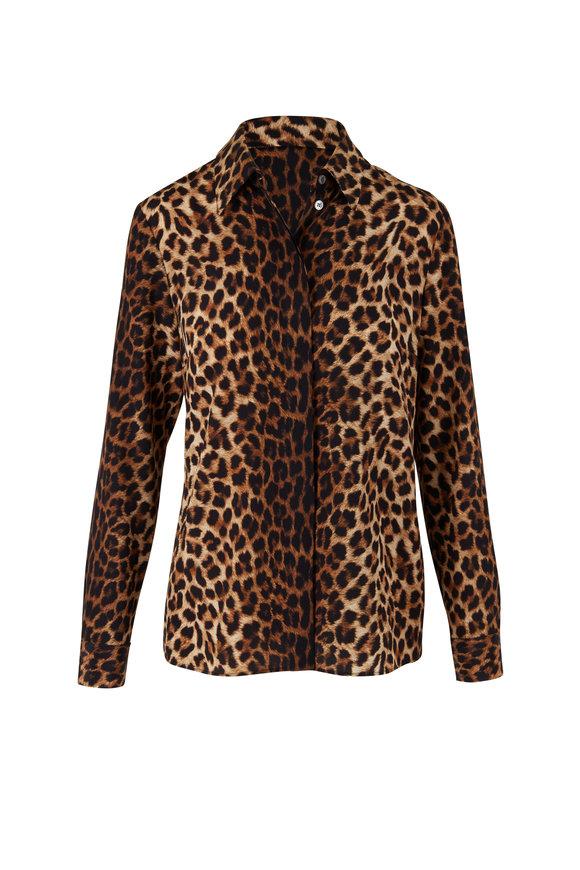 Michael Kors Collection Hansen Chestnut Leopard Button Down Blouse