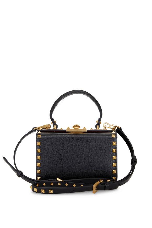 Valentino Garavani Alcove Black Leather Rockstud Box Bag