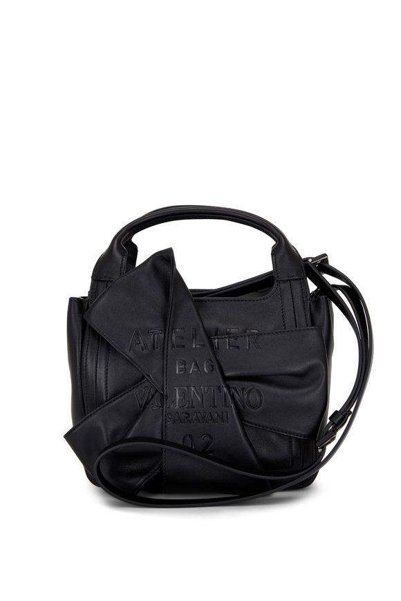 Valentino Garavani Atelier Black Leather Small Tote