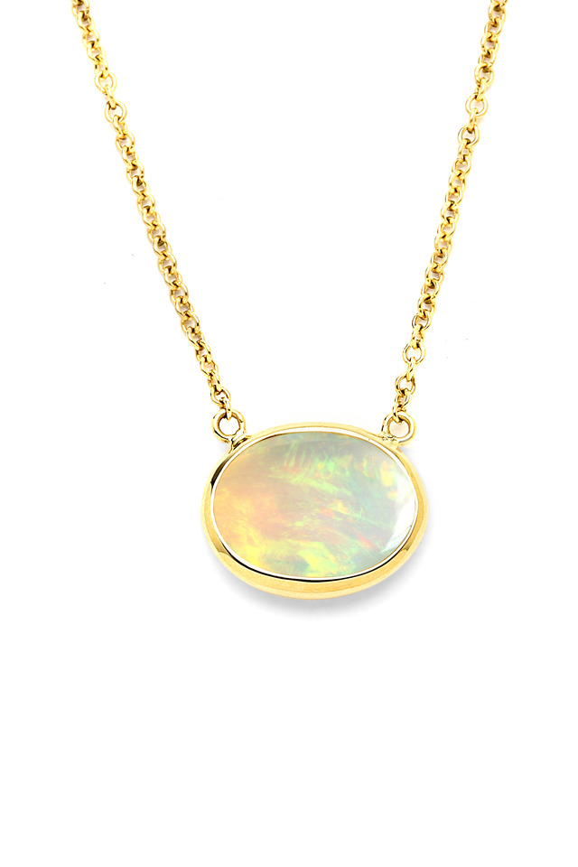 Yellow Gold Opal Cobblestone Pendant Necklace