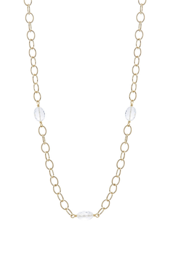 Caroline Ellen Airy Link Goshenite Bead Necklace