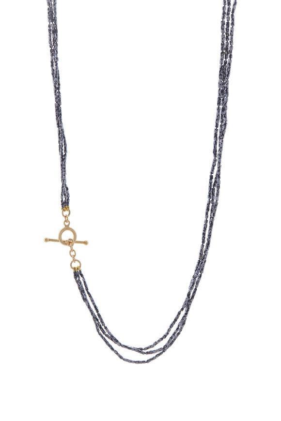 Caroline Ellen Three Stand Black Diamond Strand Necklace