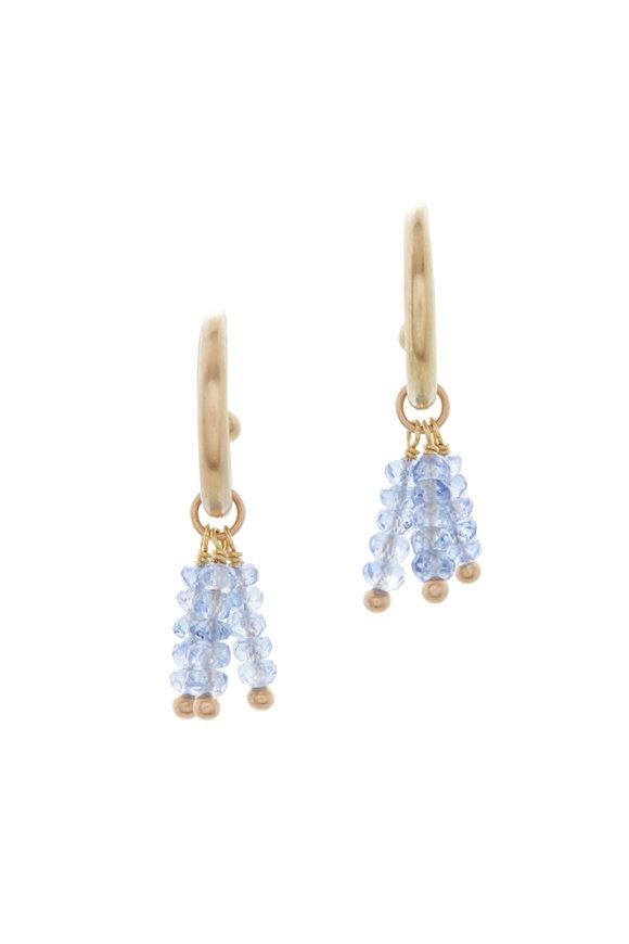Caroline Ellen Yellow Gold Sapphire Beads On Hoops