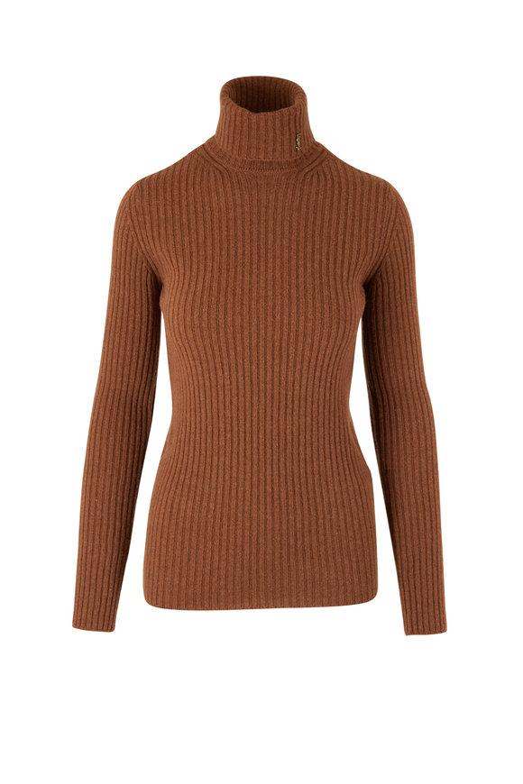 Saint Laurent Camel Wool & Cashmere Turtleneck Sweater