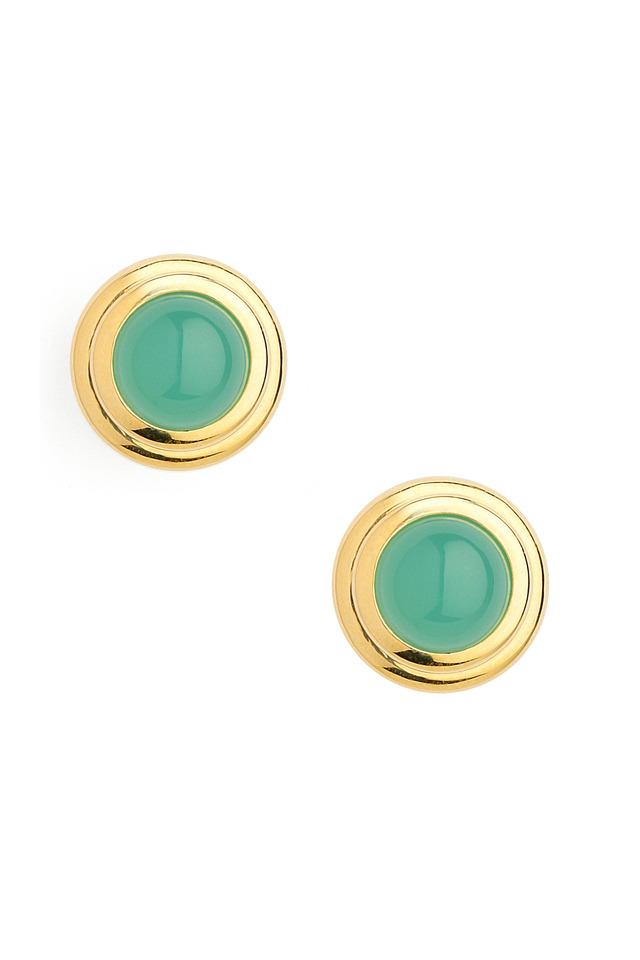 Chrysoprase Gold Earrings