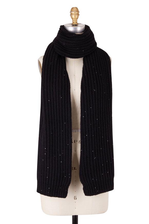 Brunello Cucinelli Black Cashmere & Silk Paillette Scarf