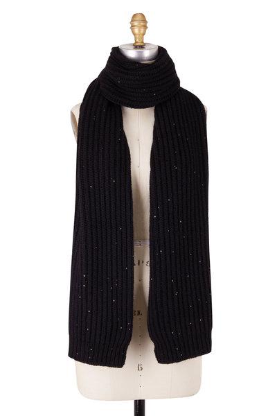 Brunello Cucinelli - Black Cashmere & Silk Paillette Scarf