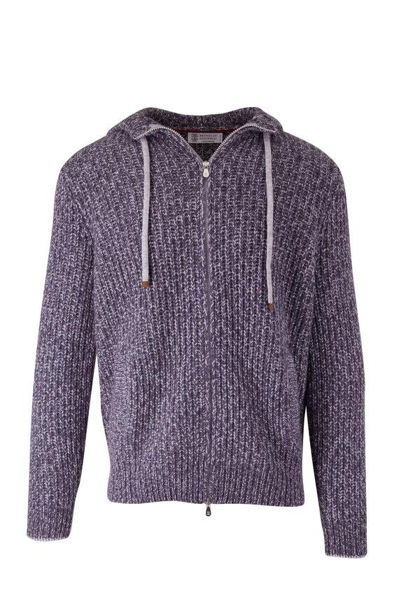 Brunello Cucinelli Purple Cashmere Full Zip Hoodie