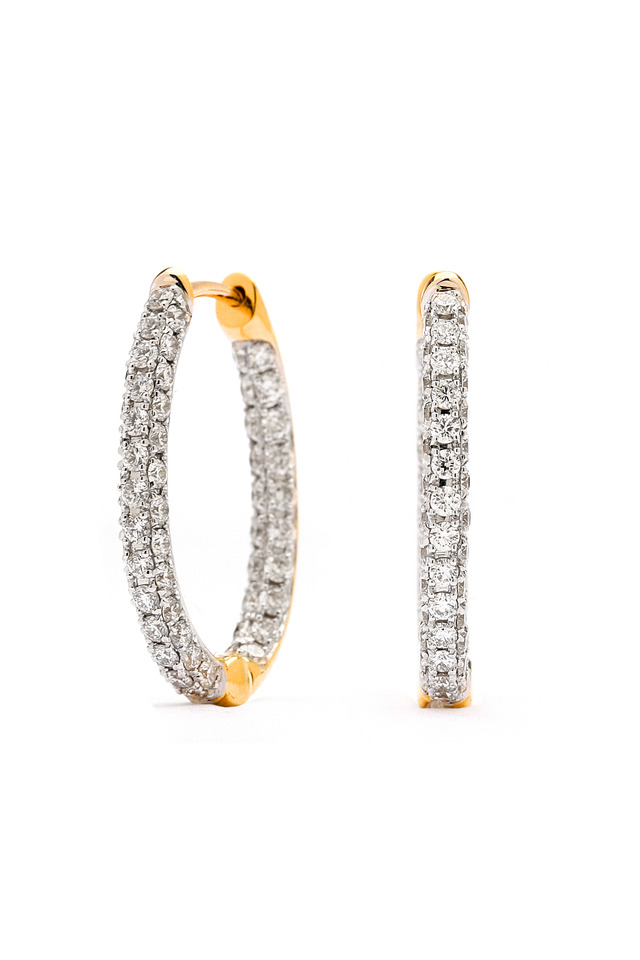 Oval Diamond Gold Hoop Earrings