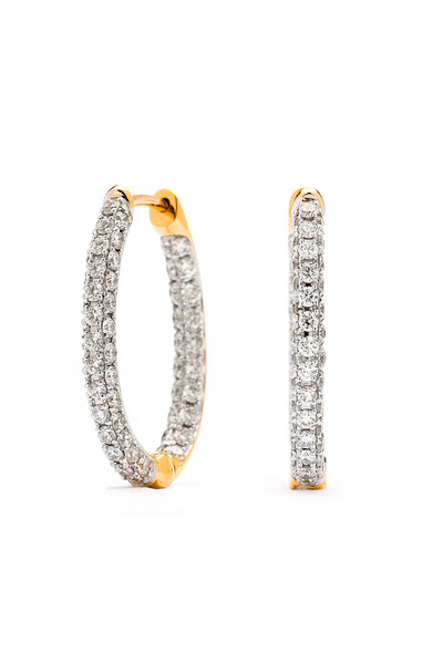 Syna - Oval Diamond Gold Hoop Earrings