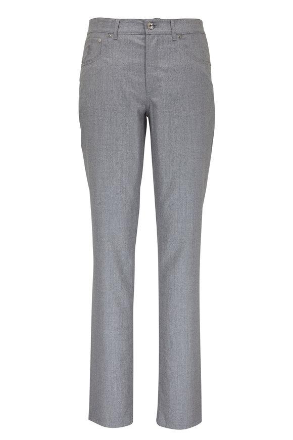 Brunello Cucinelli Light Gray Flannel Five Pocket Pant