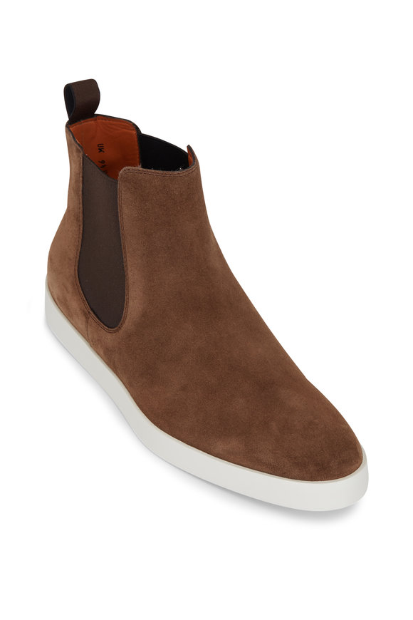 Santoni Bulkhead Medium Brown Suede Chelsea Boot