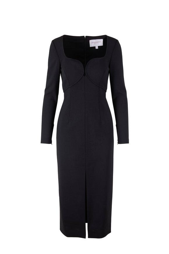 Carolina Herrera Black Bi-Stretch Wool Open Neck Long Sleeve Dress