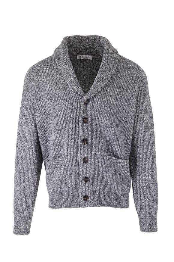 Brunello Cucinelli Charcoal Gray Shawl Collar Cardigan