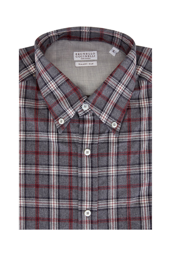 Brunello Cucinelli Gray & Red Plaid Check Basic Fit Sport Shirt