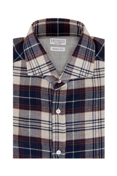 Brunello Cucinelli - Navy Buffalo Plaid Sport Shirt