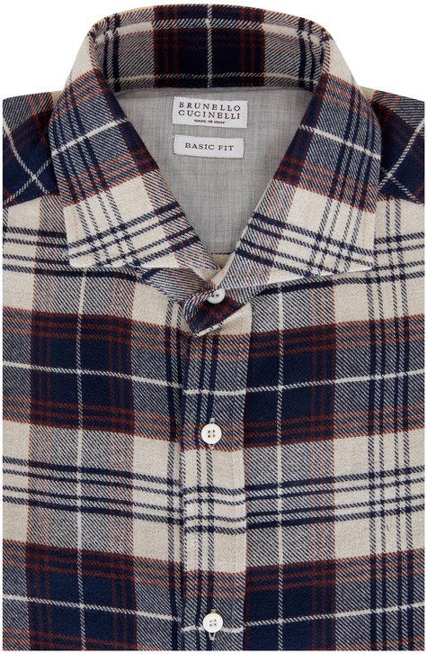 Brunello Cucinelli Navy Buffalo Plaid Sport Shirt