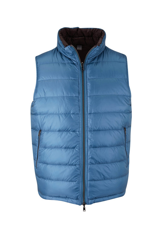 Herno Blue & Brown Lightweight Reversible Puffer Vest