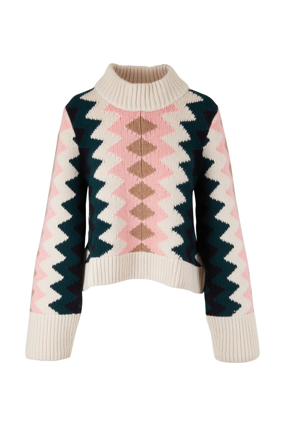Khaite Nesa Multicolor Zig-Zag Sweater
