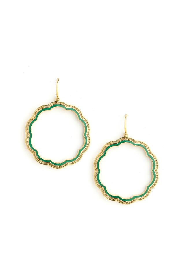 Mogul Flower Gold Diamond Green Earrings