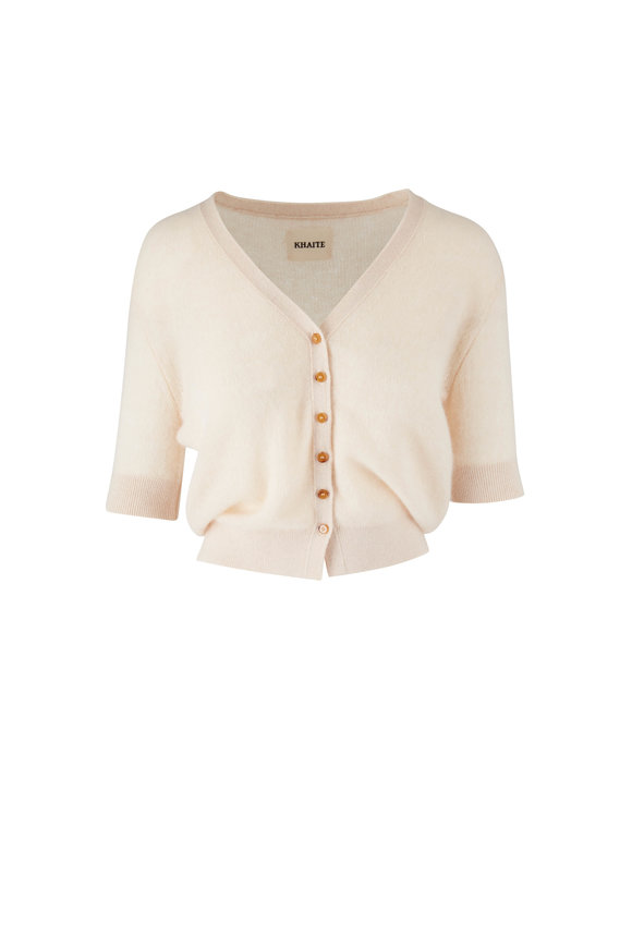Khaite Dianna Custard Short Sleeve Cardigan