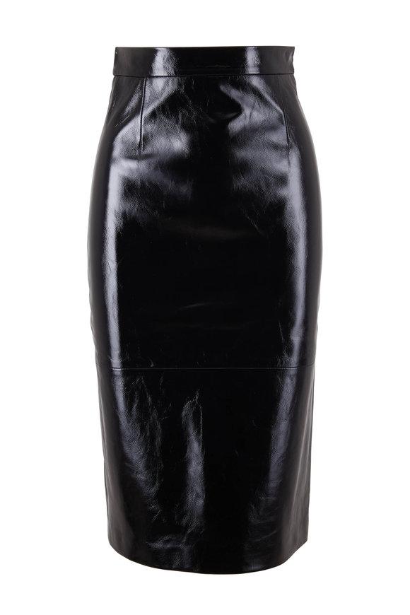 Khaite Mya Black Patent Leather Pencil Skirt