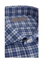 Canali - Blue & White Plaid Sport Shirt
