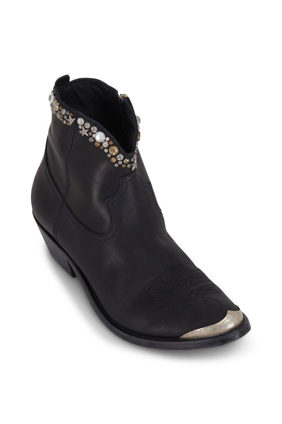 Golden Goose Young Black Leather Studded Bootie