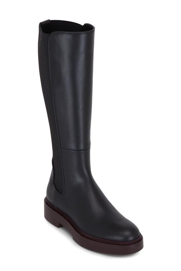Santoni Black Leather Calf Stretch Back Tall Boot