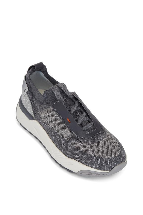 Santoni Algeria Gray Leather & Tech Fabric Pull-on Sneaker