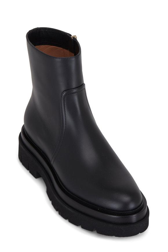 Santoni Renata Black Smooth Leather Platform Bootie