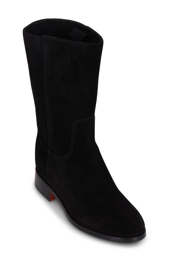 Santoni Black Suede Mid-Calf Boot