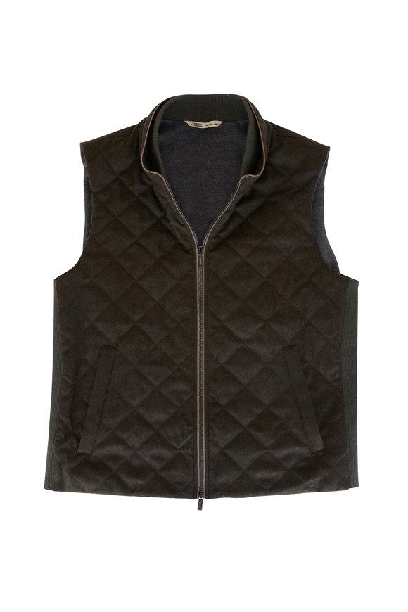 Maurizio Baldassari Olive Diagonal Quilted Cashmere Vest