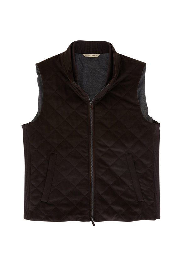 Maurizio Baldassari Brown Diagonal Quilted Cashmere Vest