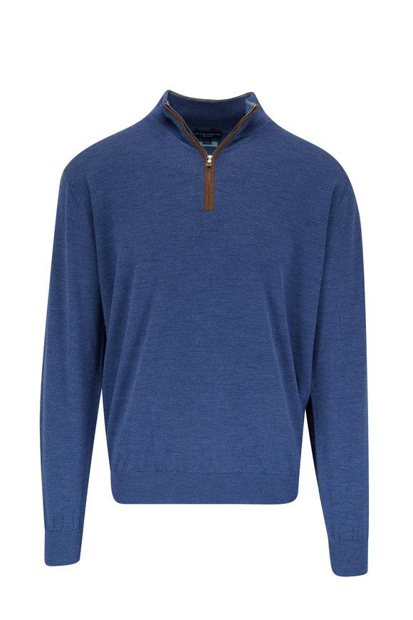Peter Millar Excursionist Flex Blue Quarter-Zip Pullover
